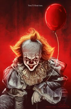 """cmloweart: """"""""""""This isn't real enough for you, Billy? I'm not real enough for you? It was real enough for Georgie!"""" - Pennywise, IT (2017) """" My finished digital painting of Pennywise the Dancing Clown!..."""