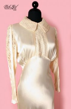 1930's satin and lace wedding dress