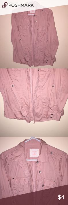 Blush pink button down. Medium. Blush pink button down with accessories on shoulders and elbows. 100% cotton. Sonoma Tops Button Down Shirts