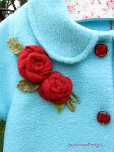 Etsy -Aqua Blue Swing Coat with Red Roses for baby/infant -$55