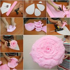 How to DIY Giant Crepe Paper Flower | iCreativeIdeas.com Like Us on Facebook ==> https://www.facebook.com/icreativeideas