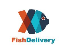 Fish Delivery is an abstract logo with abstract shape of a fish together with two arrows one to right and one to the left with the orange and blue colors.( fish, delivery, animal, food, multicolor, fast food, app, food market, restaurant, food service).