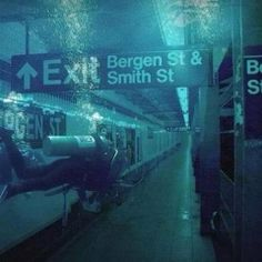 Diver In the Subway During Hurricane Sandy