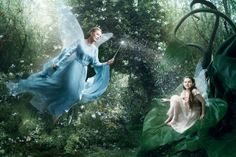 """Julie Andrews as the Blue Fairy from """"Pinocchio"""" with Abigail Breslin as Fira from """"Disney Fairies"""