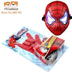 Amazing Spiderman Action Figure Flying saucer Launcher with LED Mask with Hero Glove Role Play Toy Kid Brinquedo slinger Glowing