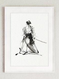 Samurai Art Print Japanese Decor Martial Arts by SamuraiArt