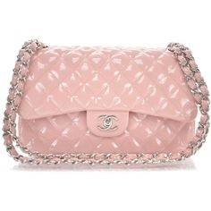 Fashionphile - CHANEL Patent Jumbo Double Flap Pink ❤ liked on Polyvore