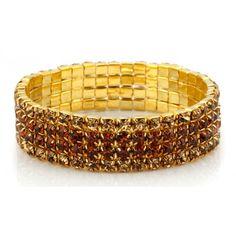 CZ Sparkling Golden 4 row bracelet $8!