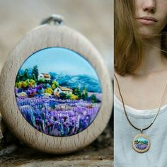 Polymer clay pendant, made by me)) Lavander and Italy. (Based on Hazel Barker) Polymer Clay Painting, Polymer Clay Kunst, Fimo Clay, Polymer Clay Projects, Ceramic Clay, Clay Crafts, Polymer Clay Necklace, Polymer Clay Pendant, Polymer Clay Embroidery