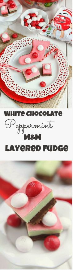 White Chocolate Peppermint M&M Layered Fudge are so easy to make with no thermometer needed. Perfect gifts for the holidays!