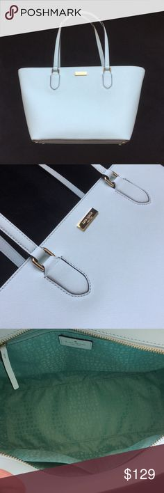 BRAND NEW! Kate Spade Bag - FREE ITEM w/PURCHASE* FREE ITEM IN CLOSET w/PURCHASE OF BAG *except MK bag! Brand new Kate Spade bag (color mint greenish pale aqua) Bought bag, cut tags off, used it twice - it's just not me! I'm not a shoulder bag person 😞only a clutch! Now I can't return it cause I used it 😞needs someone to love it! Dimensions are 11 inches across bottom, 15 inches across top (bag widens out from bottom to top). Depth is 9 1/2 inches deep. Zip closure, inside zip pocket and…