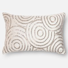 A truly expensive look, this pillow features intricate bead work in an overlapping circle pattern that shimmers and shines.  Made in India this down filled or polyester filled pillow or pillow cover comes in luxurious beige cotton velvet.