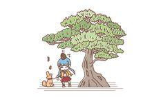 松の木の下で Illustrations, Poster, Fictional Characters, Design, Illustration, Fantasy Characters, Billboard, Illustrators