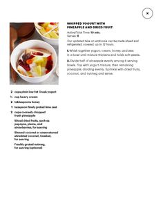 Whipped Yogurt with Pineapple and Dried Fruit--Martha Stewart Living April 2014.