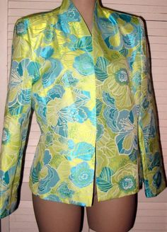 FLORES AND FLORES Floral Dressy Jacket Size 12 - Lime Green, Turquoise  #FLORESANDFLORES #CocktailDressyJacket
