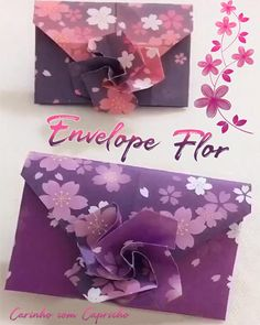Instruções Origami, Cute Origami, Origami Envelope, Origami And Kirigami, Origami Design, Cool Paper Crafts, Paper Crafts Origami, Diy Crafts Hacks, Diy Crafts For Gifts