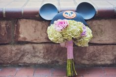 Disney bridal bouquet topped with Mickey ears- is this not the cutest thing ever?!