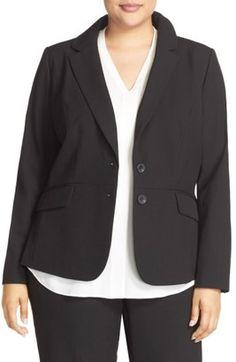 Shop Now - >  https://api.shopstyle.com/action/apiVisitRetailer?id=532527234&pid=uid6996-25233114-59 Plus Size Women's Sejour 'Ela Two-Button Stretch Suit Jacket  ...