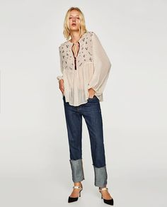 ZARA - WOMAN - DOTTED MESH BLOUSE WITH EMBROIDERY