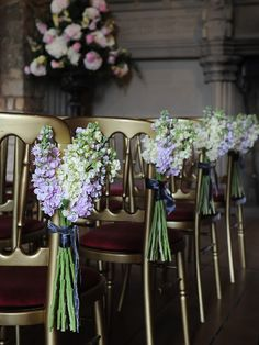 Stock bouquets down the aisle. I love stock flower. Many colors, not terribly expensive. Wedding Pews, Wedding Ceremony Flowers, Wedding Chairs, Floral Wedding, Wedding Church, Wedding Ceremonies, Garden Wedding, Aisle Flowers, Church Flowers