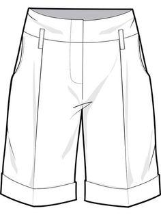 005 mens apparel flat sketch pleated dress pants cuffed ...