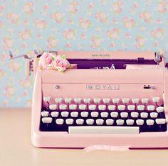 typewriter, pastel flowers, vintage pastel