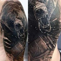 Tribal Men's Grizzly Bear Tattoos #UltraCoolTattoos #tattoosformen Animal Tattoos For Men, Arm Tattoos For Guys, Trendy Tattoos, Head Tattoos, Body Art Tattoos, Sleeve Tattoos, Tattoo Avant Bras, Grizzly Bear Tattoos, Angry Bear