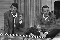 Entertainers Dean Martin and Frank Sinatra on the set of 'The Dean Martin Show' Christmas special in 1967 in Los Angeles, California.