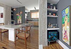 A arquiteta Gabriela Marques criou um nicho na parede da sala de jantar para o bar. A gaveta e as três prateleiras organizam bebidas e acessórios