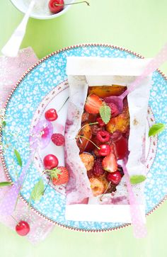 Summer fruit papillotes with lavender ice cream. PRETTY!