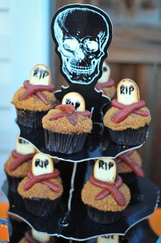 Tombstone cupcakes  Halloween Birthday | Catch My Party