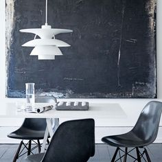 BLACK EAMES CHAIRS, HAY TABLE AND PH LAMP