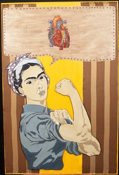Frida Kahlo / Rosie the Riveter Woman Mixed Media Painting