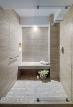 Travertino Marble, This stunning shower was completed by Eolo A&I Design Small Basement Bathroom, Bathroom Renos, Bathroom Layout, Modern Bathroom Design, Bathroom Renovations, Master Bathroom, Modern Design, Bathroom Ideas, Silver Bathroom