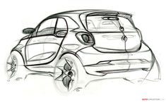 Smart ForTwo and ForFour Officially Revealed Car Drawings, Drawing Sketches, Smart Fortwo, Industrial Design Sketch, Car Design Sketch, Pen Sketch, Smart Car, City Car, Berlin