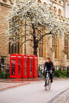 Telephone Boxes, Cambridge England. I was standing on this corner just this morning! :)