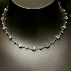 Diamond Necklace 925 Sterling Silver Inspired White Round Prong Set Great New Party necklace Cz * Diamond Tennis Necklace, Diamond Bangle, Diamond Pendant Necklace, Diamond Jewelry, Emerald Necklace, Silver Jewelry, Silver Rings, Schmuck Design, Simple Necklace