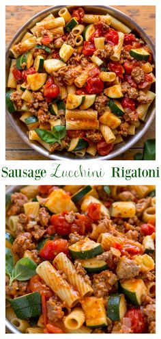 Rigatoni with Sausage, Tomatoes, and Zucchini – Baker by Nature Calling all pasta lovers! This hearty Rigatoni with Sausage, Tomatoes, and Zucchini is for you! It's so flavorful and easy enough to make on a weeknight! Zucchini Pasta Recipes, Vegetarian Pasta Recipes, Easy Pasta Recipes, Easy Meals, Cooking Recipes, Sausage Dinner Recipes, Recipes With Sausage And Zucchini, Pasta Recipes Rigatoni, Pasta With Sausage