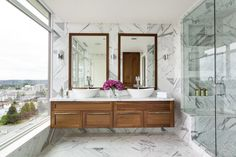 bathroom with marble style wall