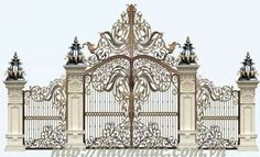 The Mizner Estate on First's media statistics and analytics Front Gate Design, Steel Gate Design, House Gate Design, Main Gate Design, Modern House Design, Compound Wall Design, Home Fencing, Bedroom False Ceiling Design, Wrought Iron Gates