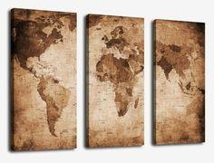 In Drei Wandbilder Geteilte Weltkarte Antiker Look Berhmter Schiffskapitn Weltweit Bereiste Meere