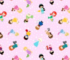 Princesses on Pink fabric by jac2006 on Spoonflower - custom fabric