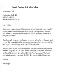 Sample Teaching Resignation Letter Draft Template To Teacher Your