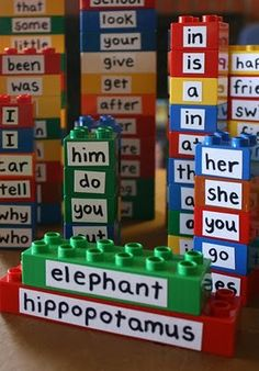 "Fun game you can play with a child — turn sentence building into a sort of ""mad libs"" game with legos.   Source: http://www.filthwizardry.com/2010/07/diy-spinny-spellers-and-repurposing.html"