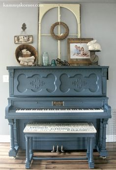Kammy's Korner: New Rustic Piano Scape {Mom Strikes Again} Love this piano bench redo.