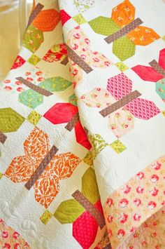 Painted Ladies by Fig Tree Quilts featuring Honeysweet #modafabrics #fallquilts