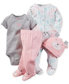 Carter's Baby Girls' 4-Piece Hat, Footed Coverall, Bodysuit & Footed Pants Set