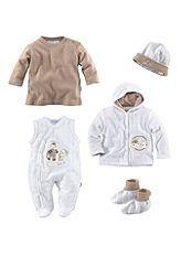 Klitzeklein Set: Jacke, Strampler, Shirt, Mütze und Schühchen (5-tlg.) für Babys