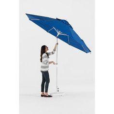 Frankford Umbrellas 11' Market Umbrella Fabric: Capri Blue Acrylic, Finish: Silver