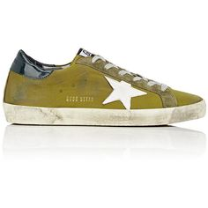 Golden Goose Women's Women's Superstar Satin Sneakers ($480) ❤ liked on Polyvore featuring shoes, sneakers, golden goose sneakers, distressed sneakers, wedge heel sneakers, lace up shoes and rubber sole shoes